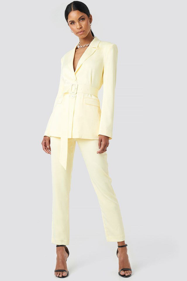 Belted Long Fitted Blazer Light Yellow