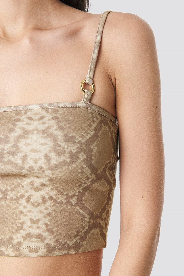Cropped Circle Detail Printed Singlet Snake