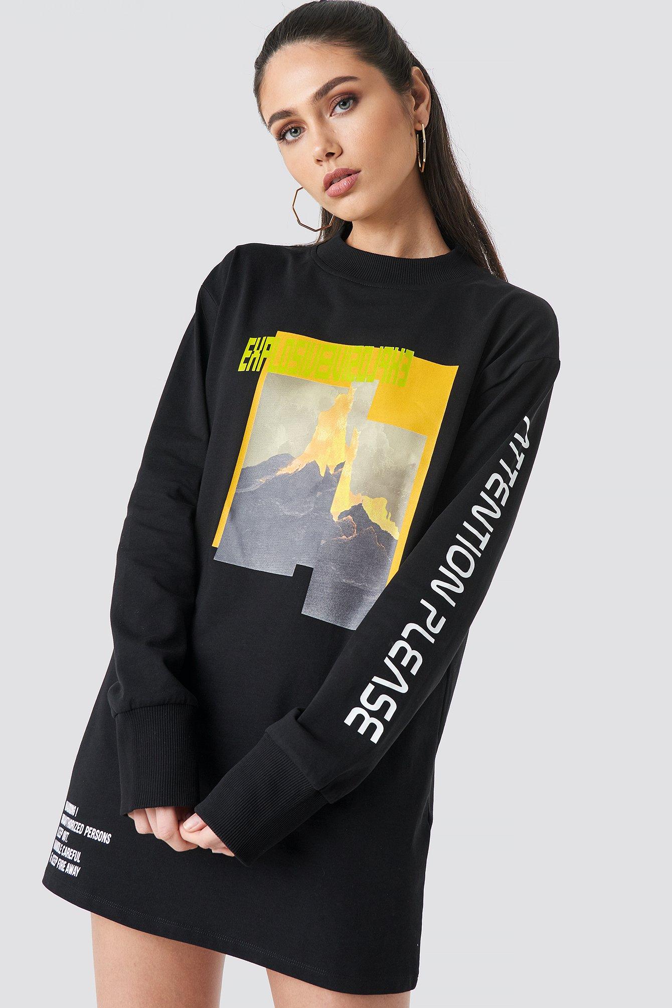 Explosive Long Sleeve T-shirt Dress NA-KD.COM