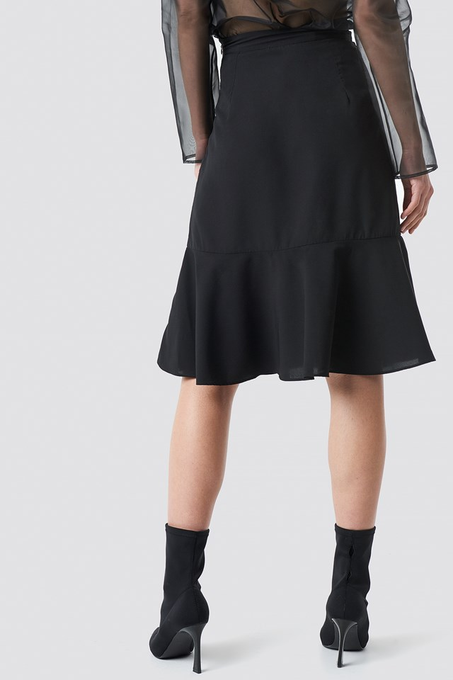 Flounce Midi Skirt Black