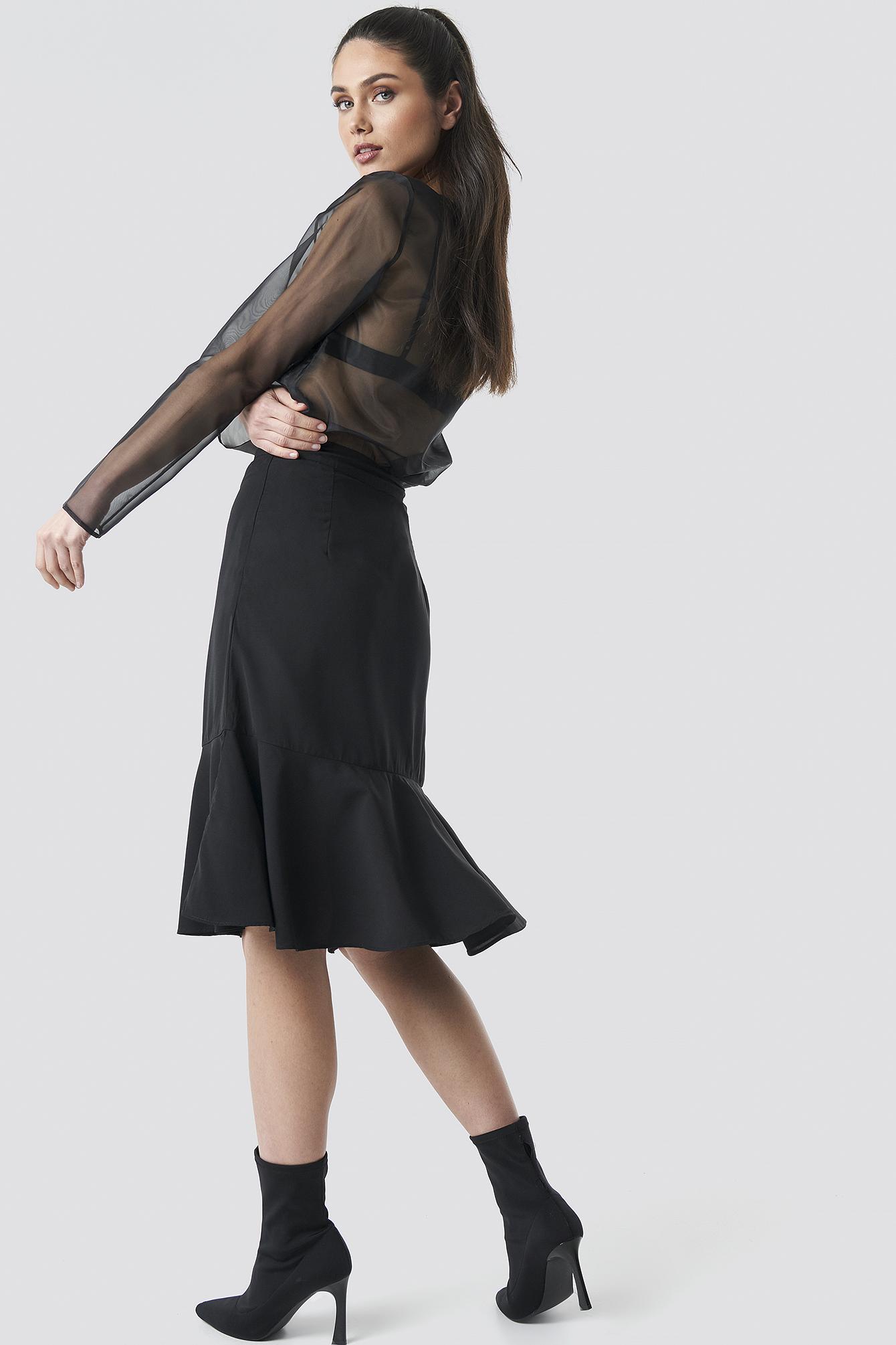 Flounce Midi Skirt NA-KD.COM