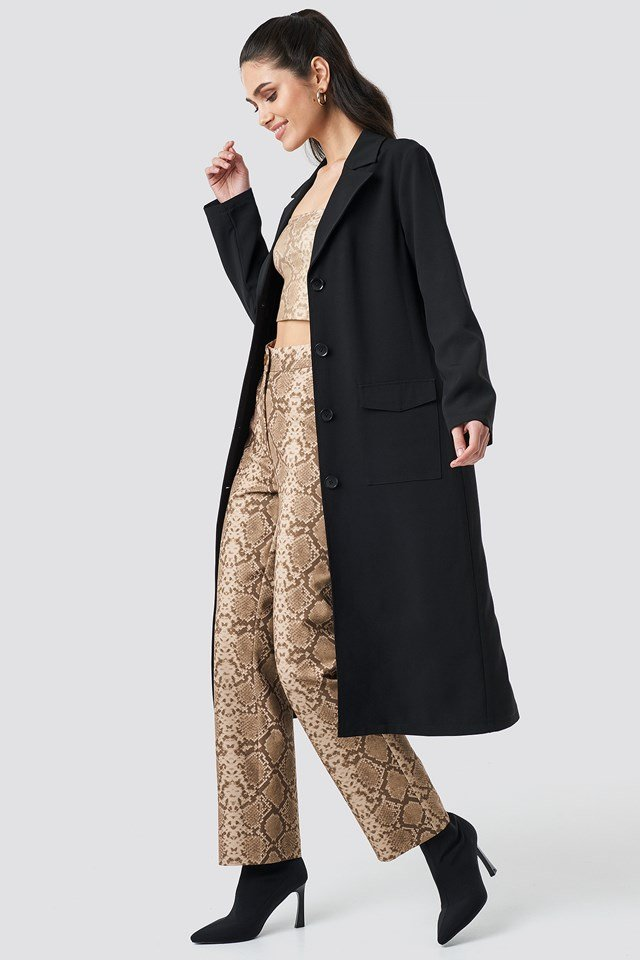 Front Button Ankle Coat Black