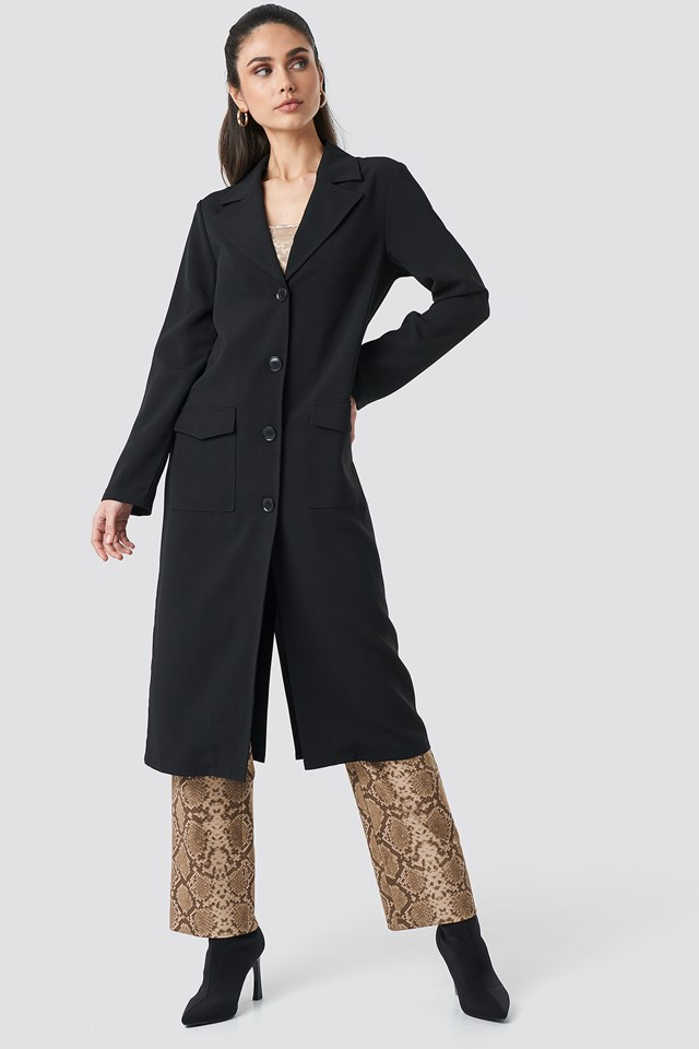 Front Button Ankle Coat Black