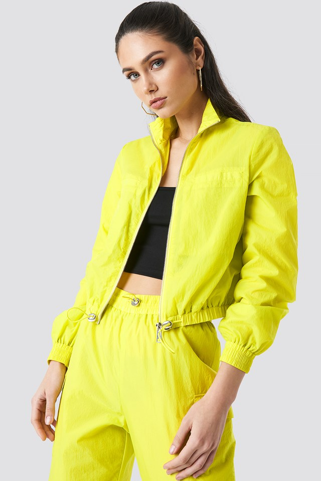 Front Zip Track Jacket Lime