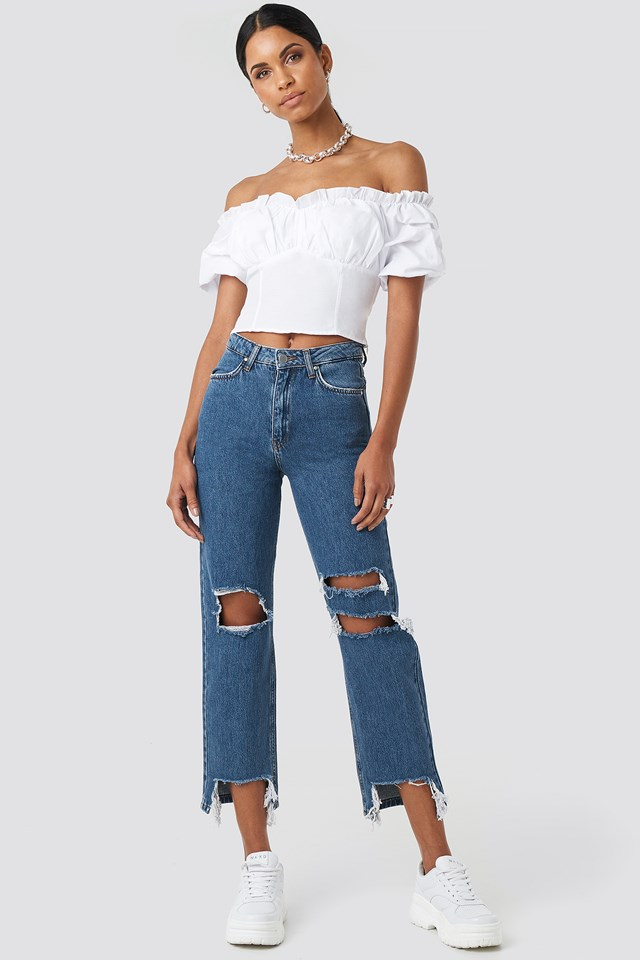 Off Shoulder Ruffle Cup Cropped Blouse White