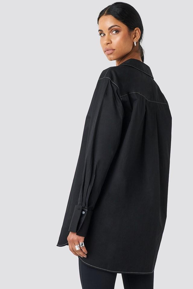 Oversized Long Contrast Shirt Black
