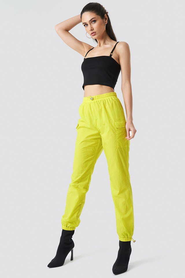 Side Pocket Track Pants Lime