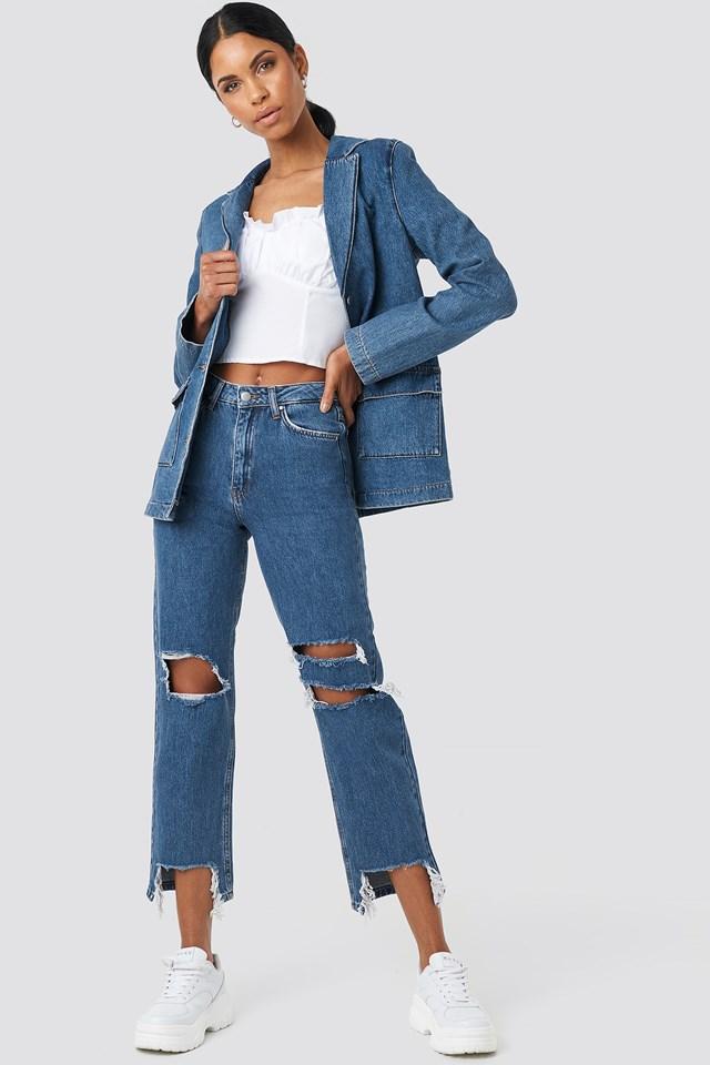 Straight Fit Denim Blazer Mid Blue