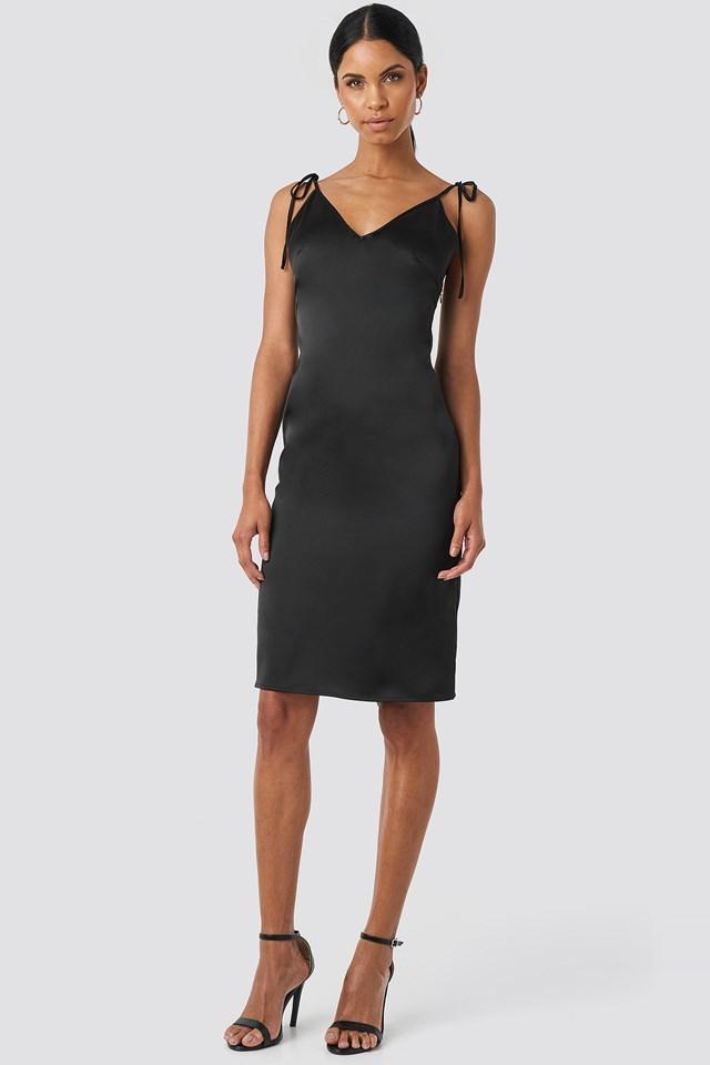 V-neck Tied Straps Dress Black