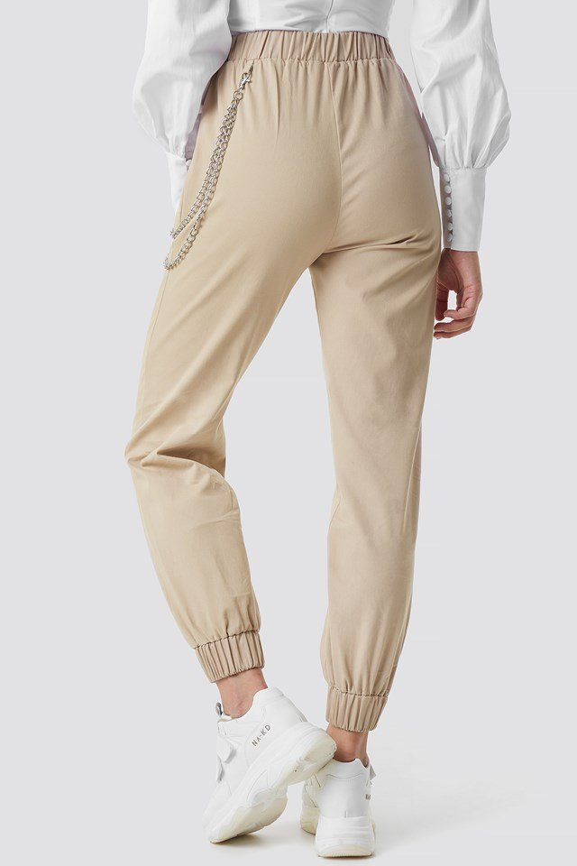 Chain Detailed Puffy Pants Brown