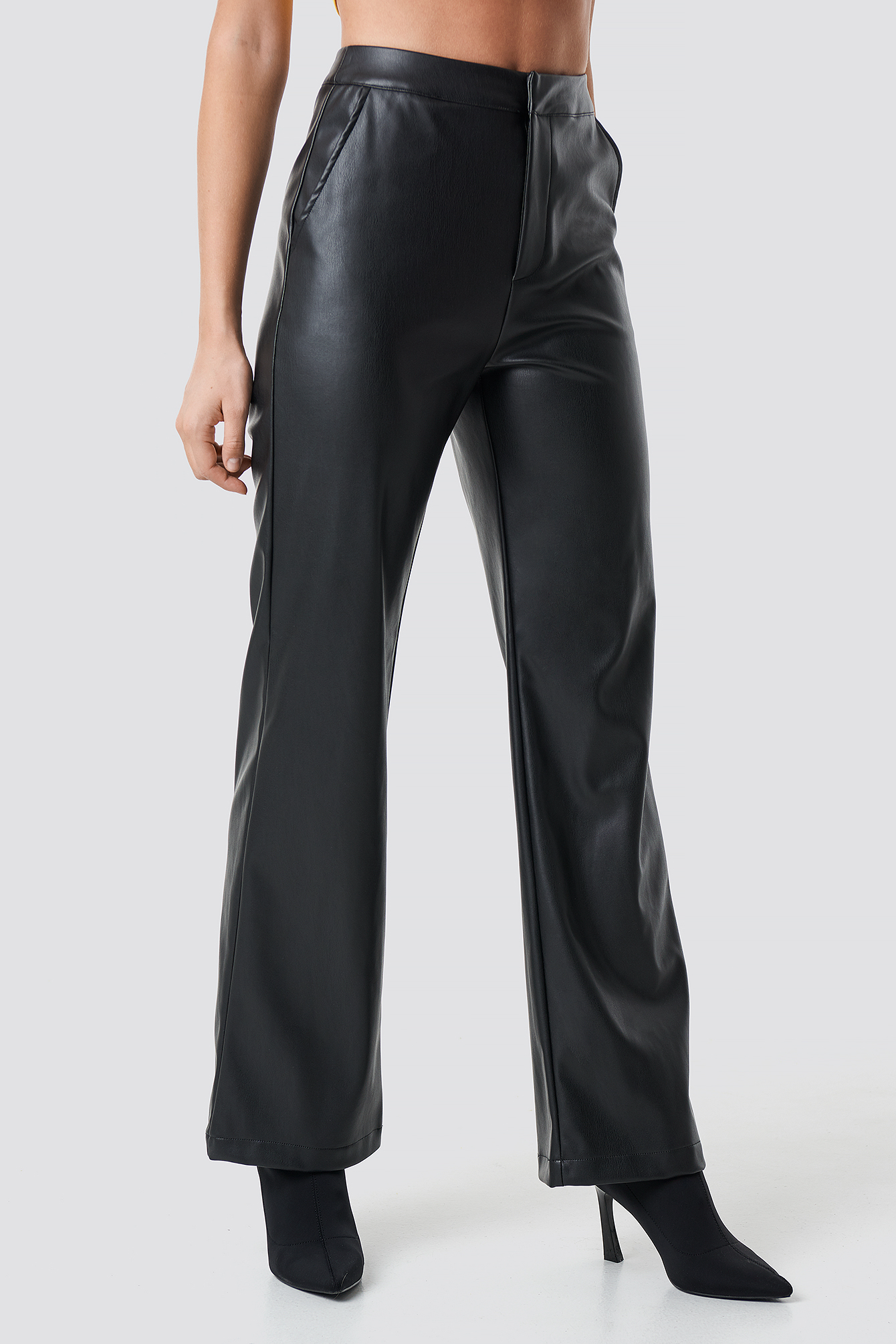 Faux Leather Wide Pants NA-KD.COM