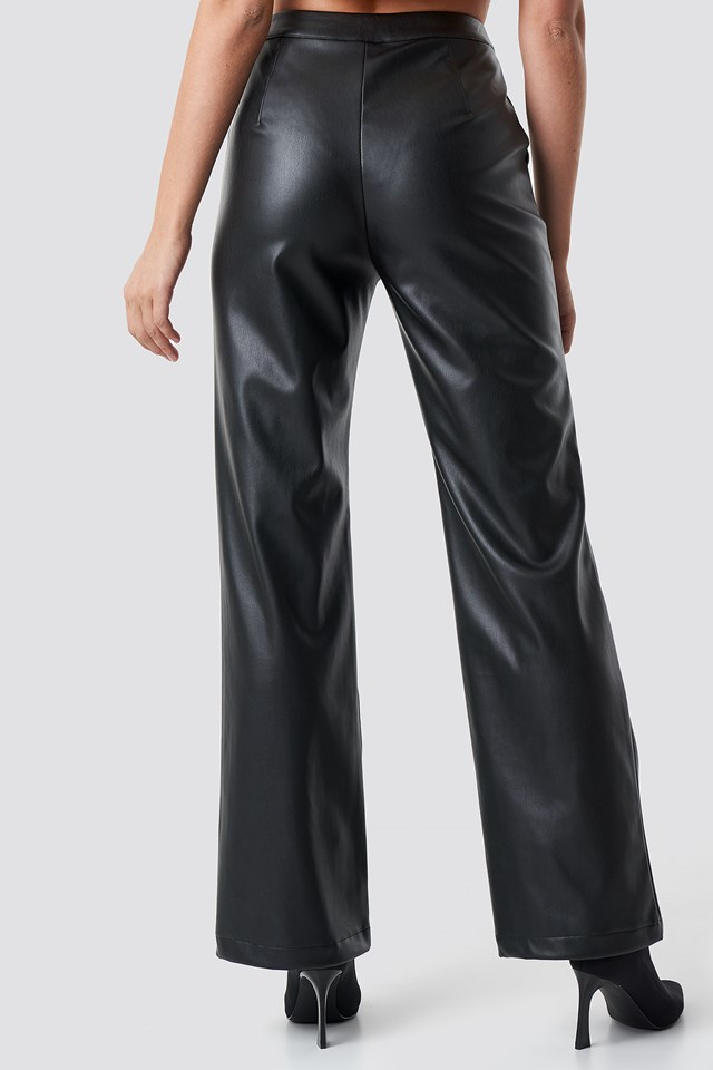Faux Leather Wide Pants Black