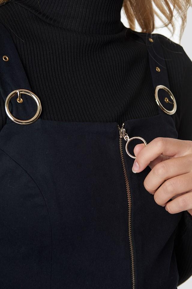 Front Zip Detailed Jumpsuit Black