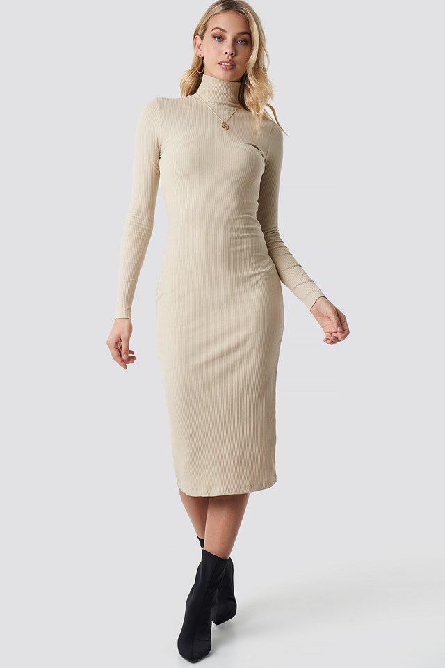 High Neck Ribbed Dress Brown
