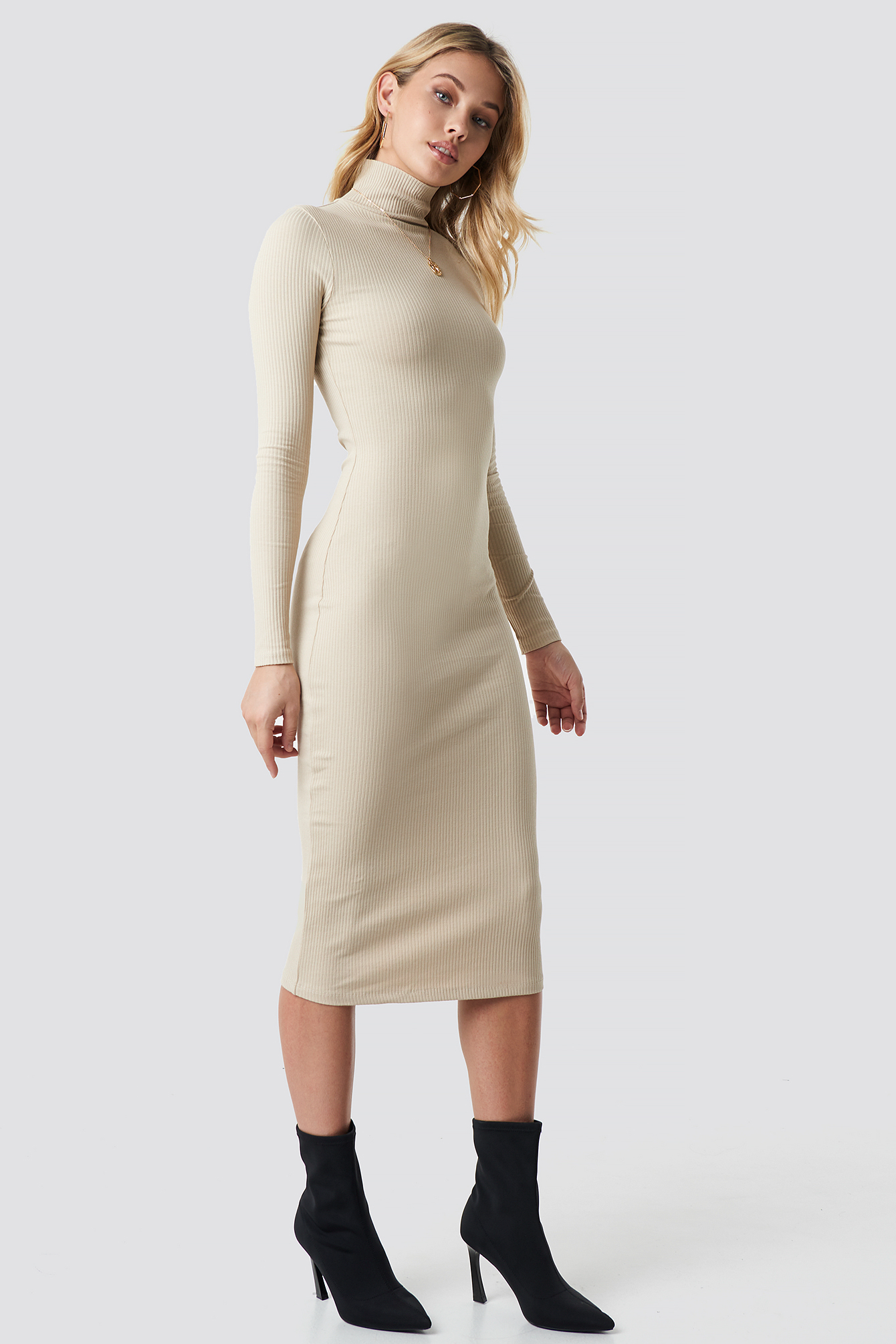 High Neck Ribbed Dress NA-KD.COM