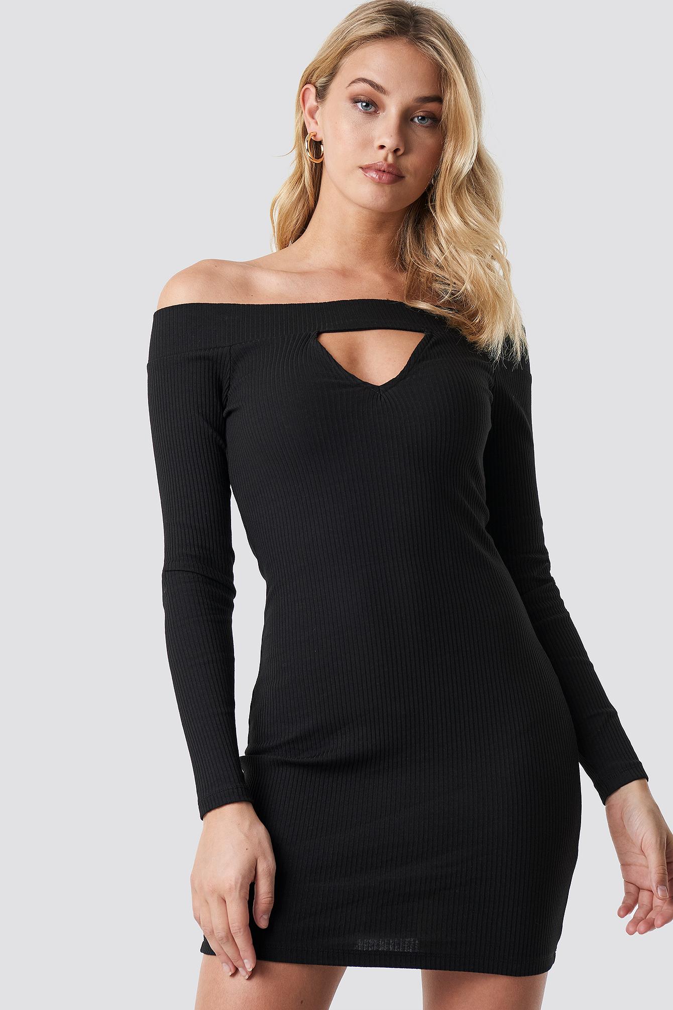 ANNA NOOSHIN X NA-KD Off Shoulder Cut Out Ribbed Dress - Black