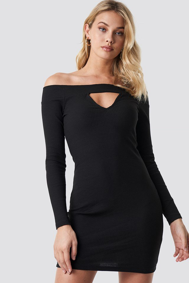 Off Shoulder Cut Out Ribbed Dress Black