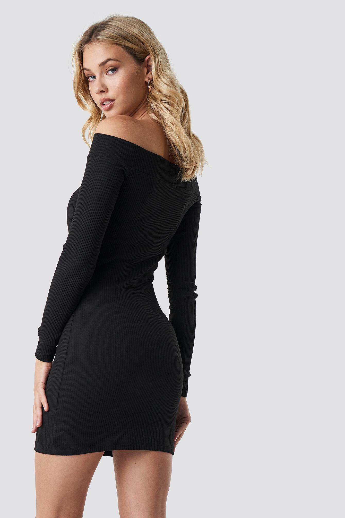 Off Shoulder Cut Out Ribbed Dress NA-KD.COM