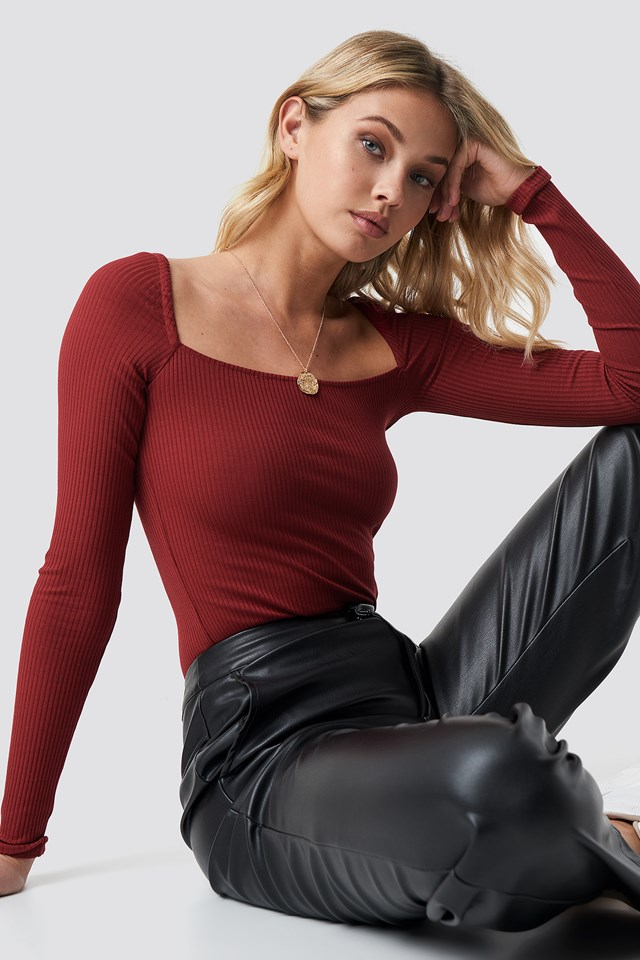 Square Shape Ribbed Top Wine Red