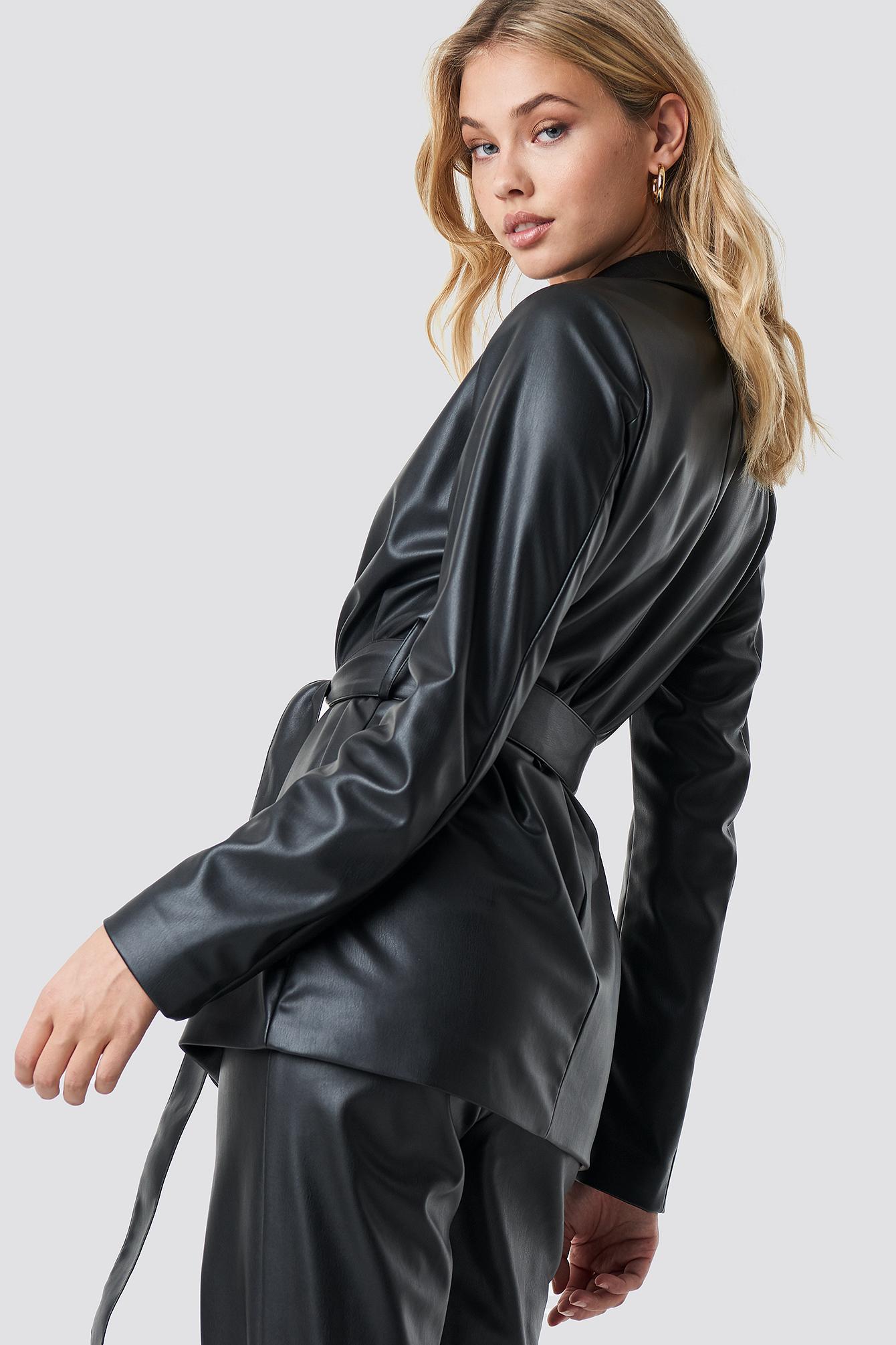 Tied Waist Faux Leather Blazer NA-KD.COM