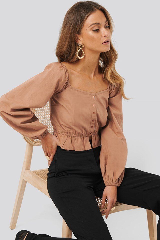 Puff Sleeve Button Blouse Cocoa