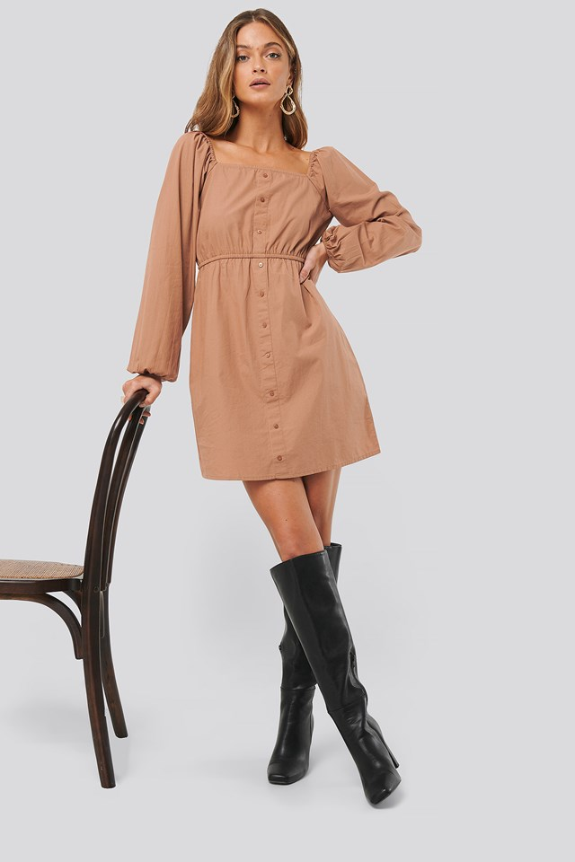 Puff Sleeve Button Up Dress Cocoa