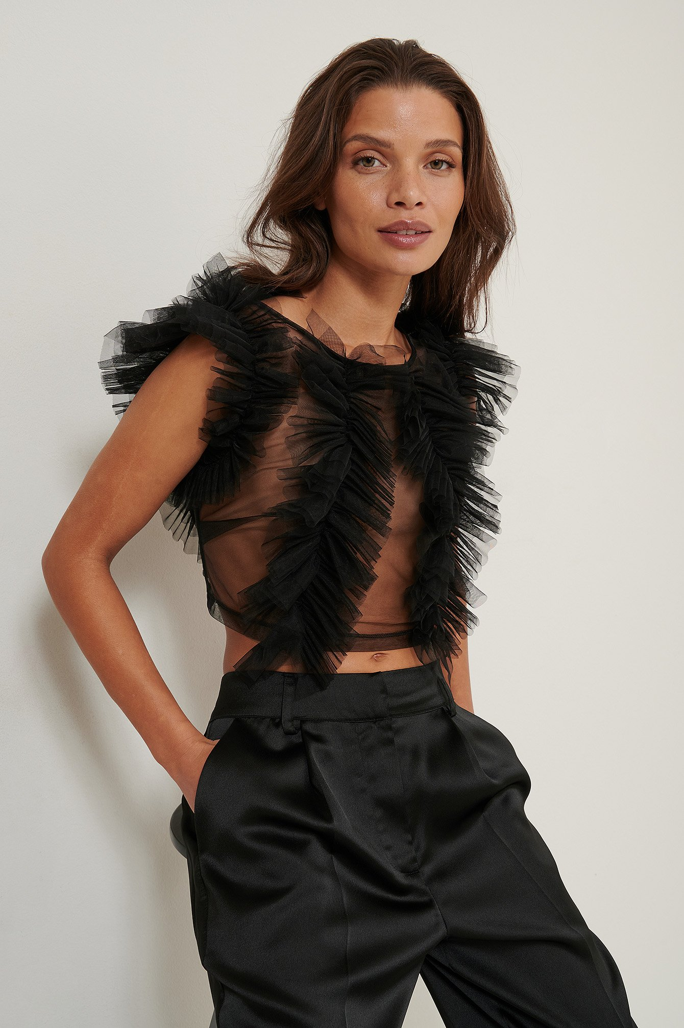 Black Tulle Blouse