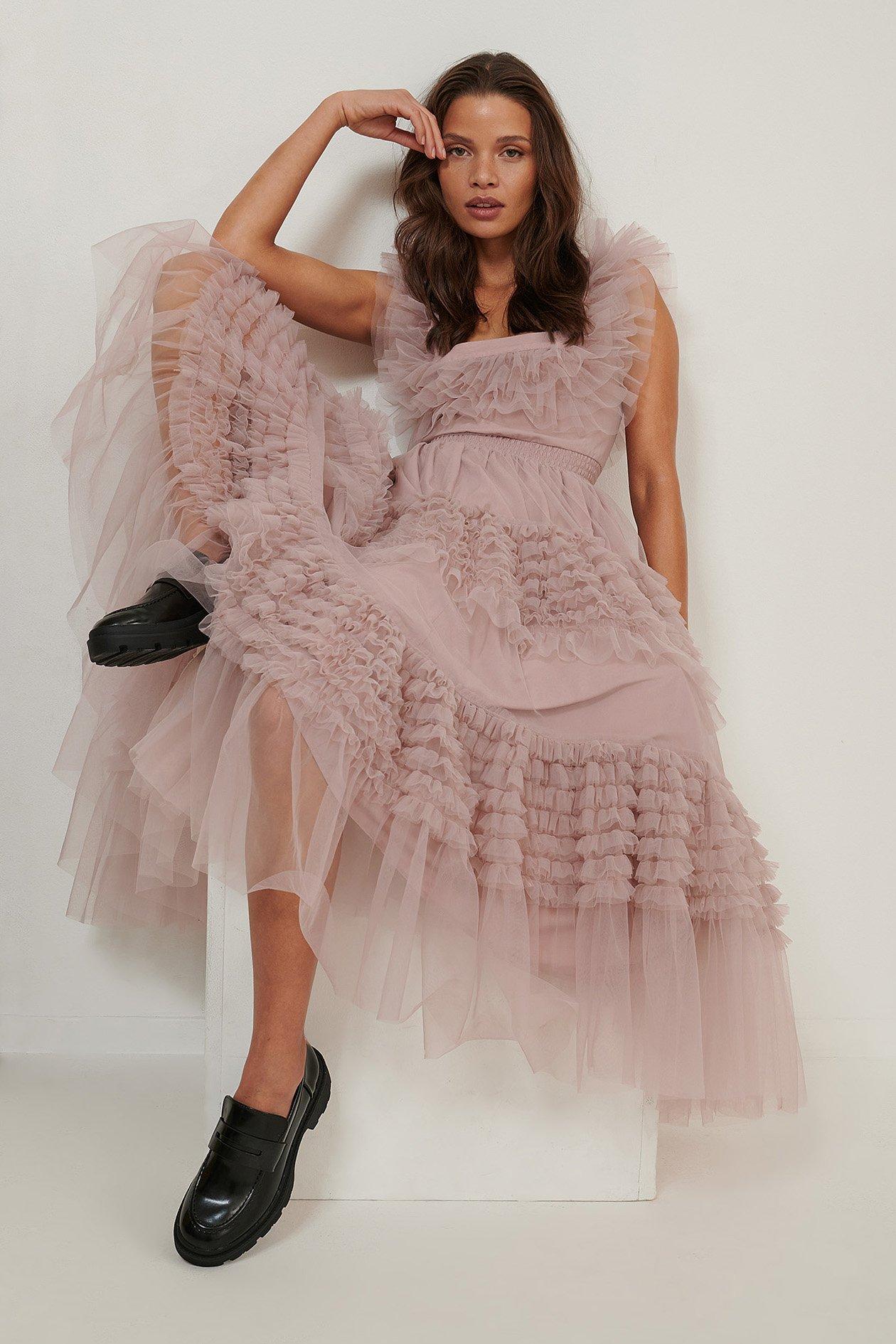 NA-KD ART Tulle Dress - Pink