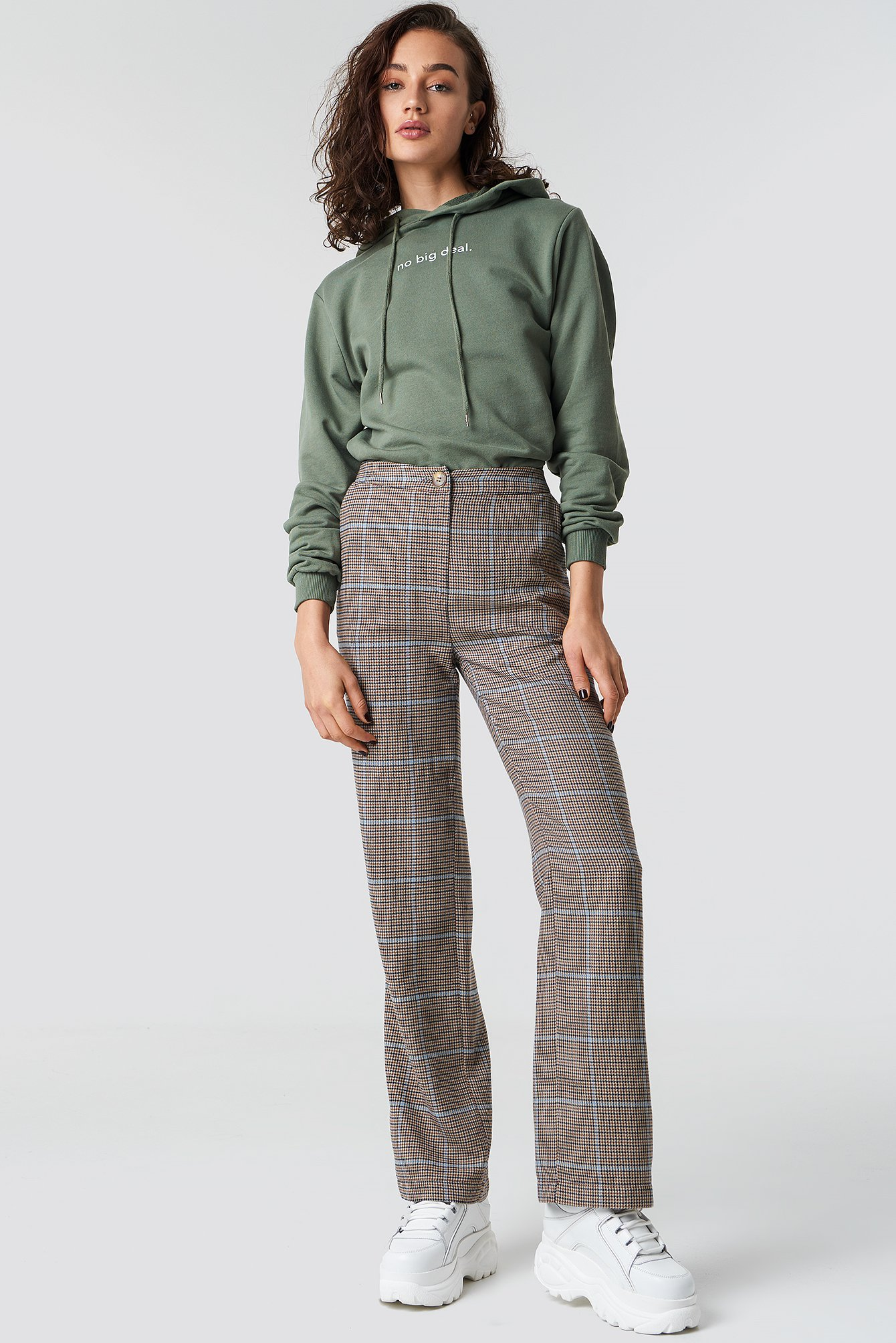 astrid olsen x na-kd -  Checked Suit Pants - Brown,Beige