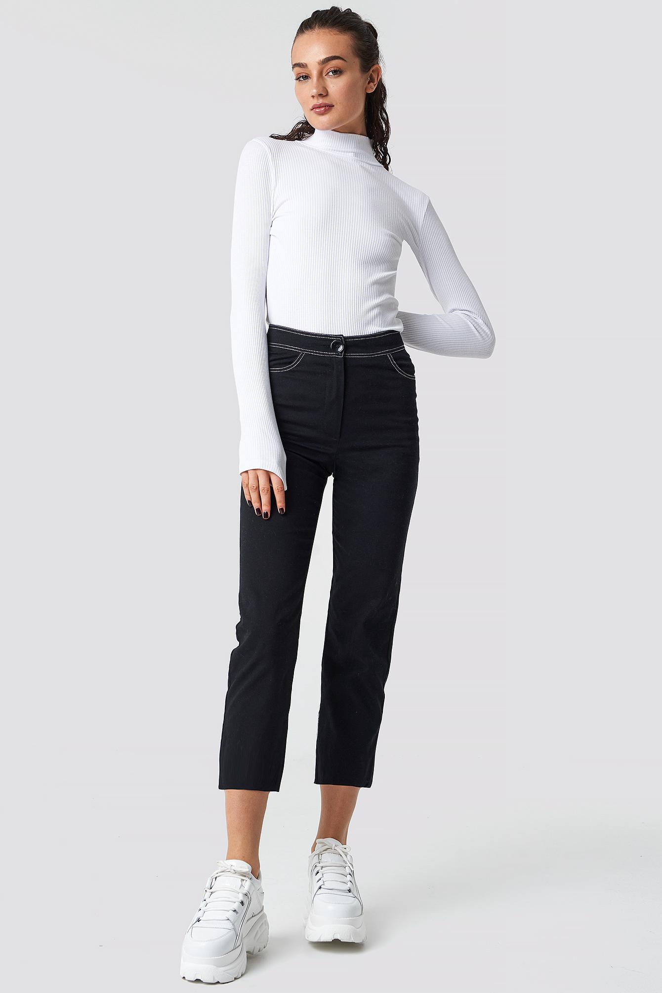 Contrast Seam Cropped Pants NA-KD.COM