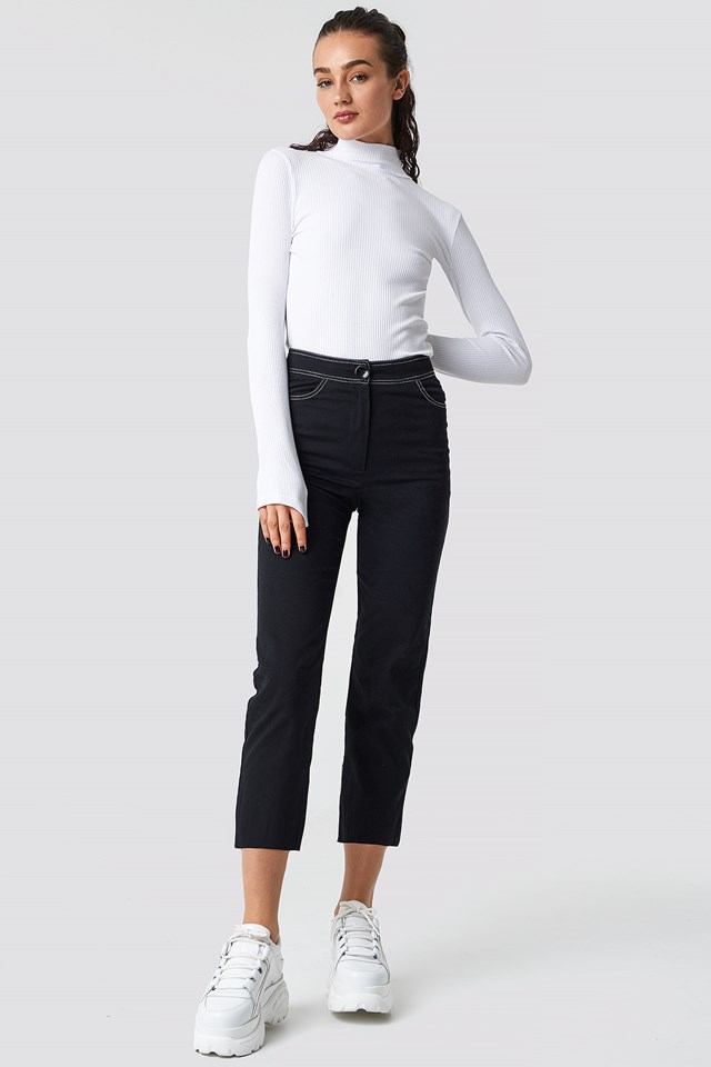 Contrast Seam Cropped Pants Black