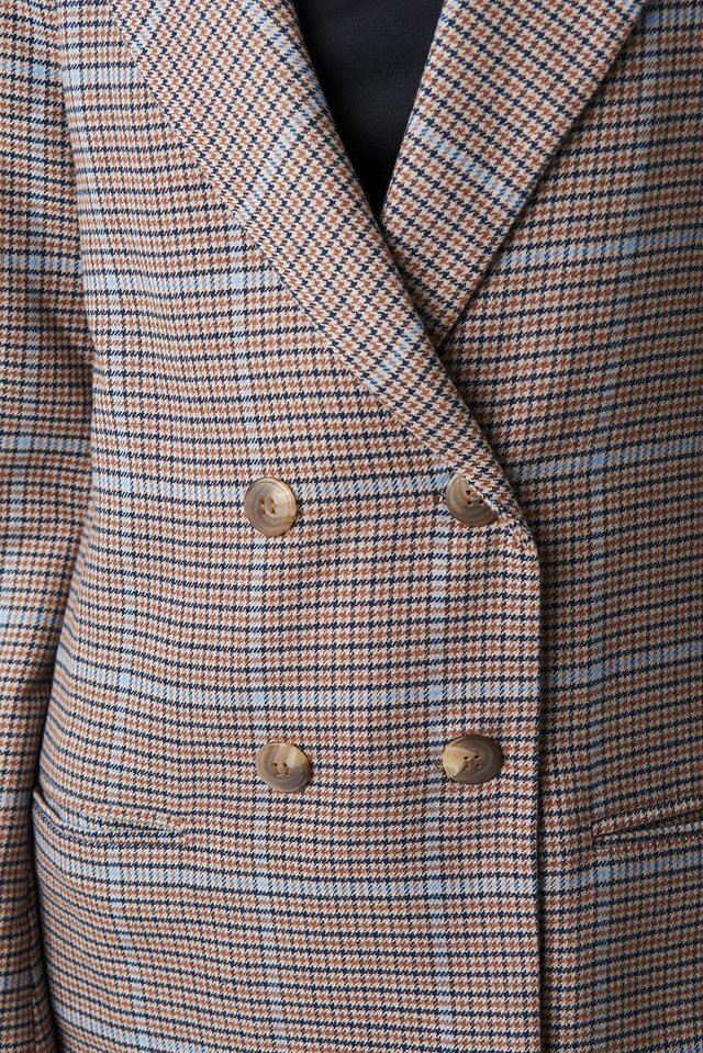 Double Buttoned Blazer Checked