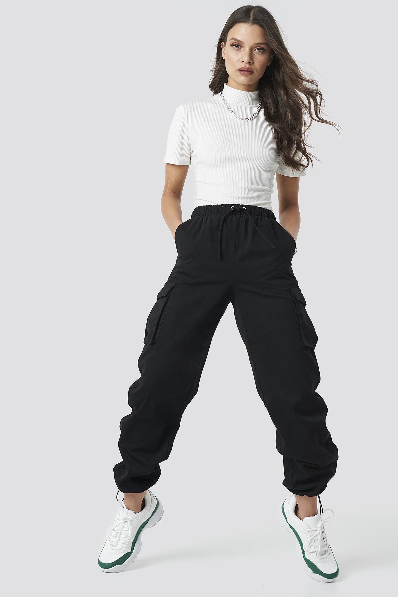 astrid olsen x na-kd -  Drawstring Cargo Pants - Black