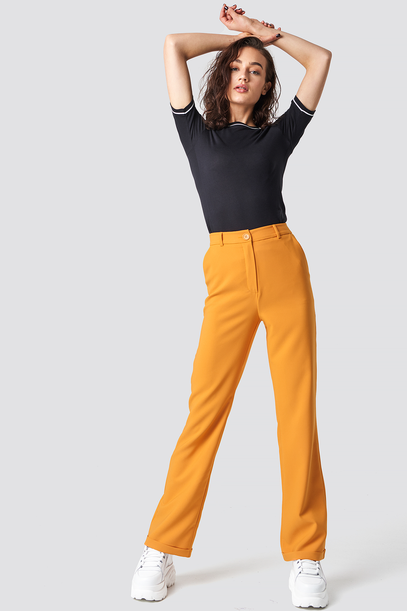 astrid olsen x na-kd -  Folded Suit Pants - Orange