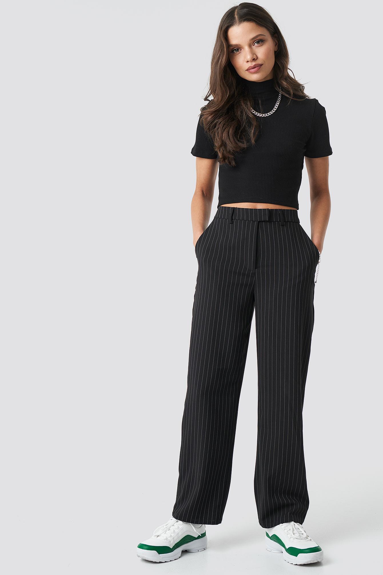 astrid olsen x na-kd -  Pinstripe Pants - Black