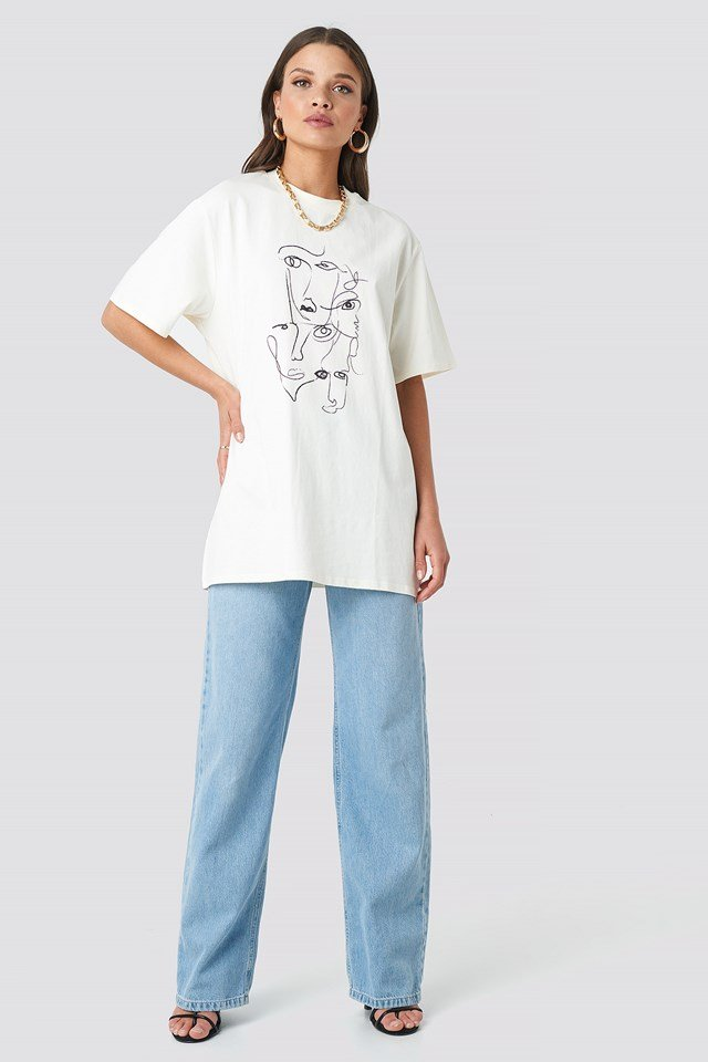 Printed Face Oversize Tee Offwhite