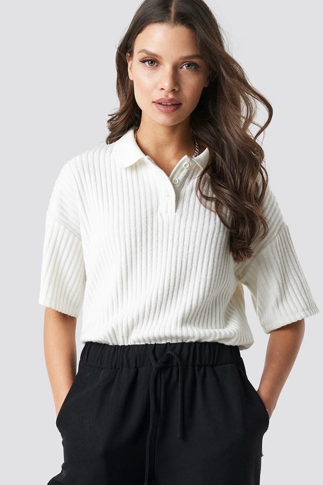 Ribbed Polo Shirt Astrid Olsen x NA-KD