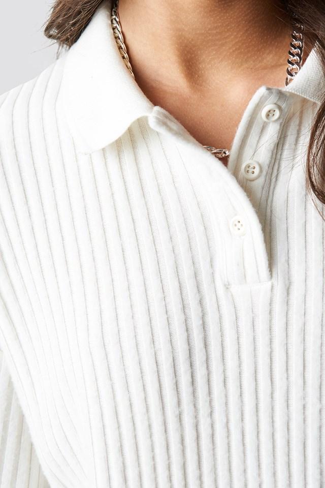 Ribbed Polo Shirt Ivory