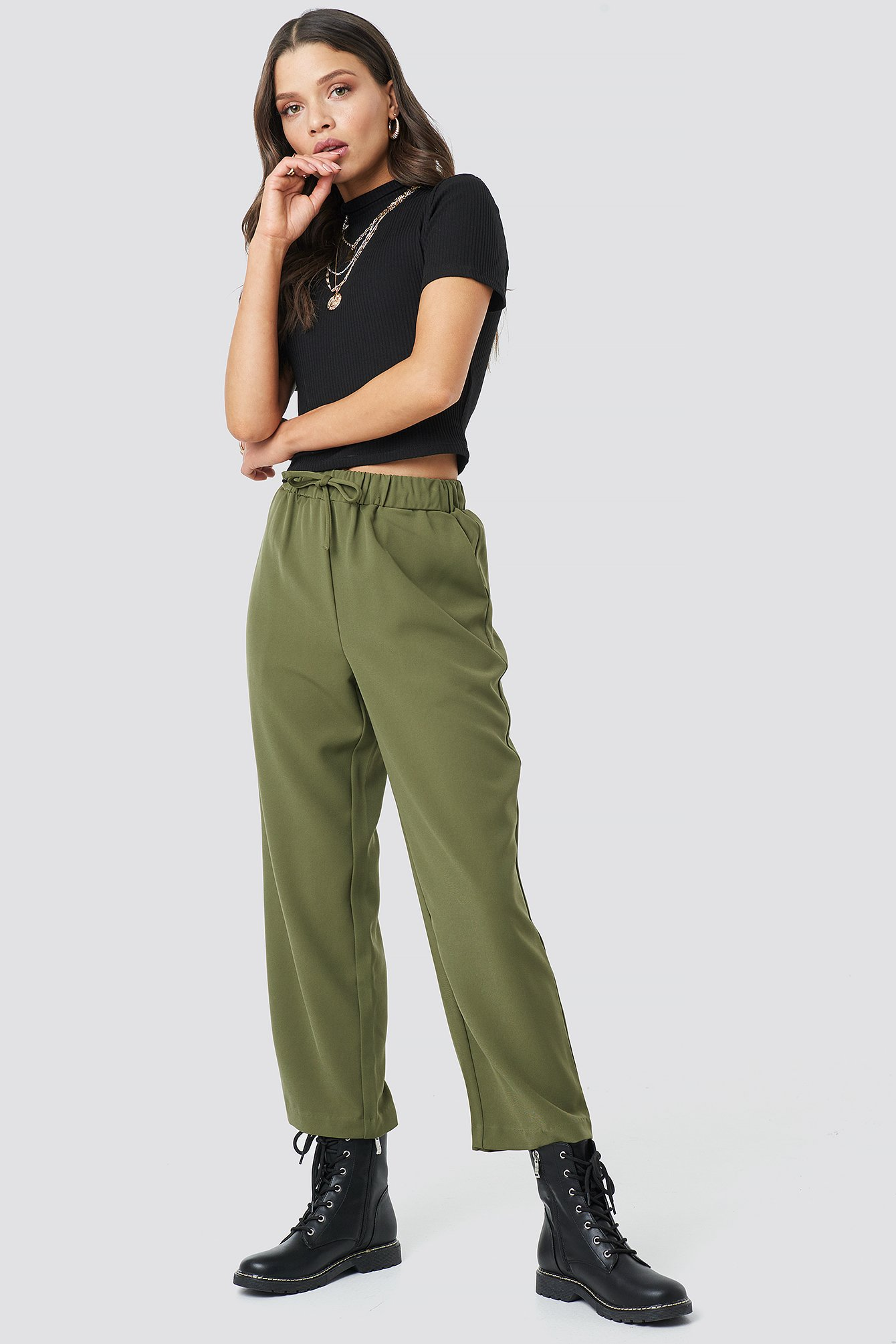 astrid olsen x na-kd -  Drawstring Suit Pants - Green