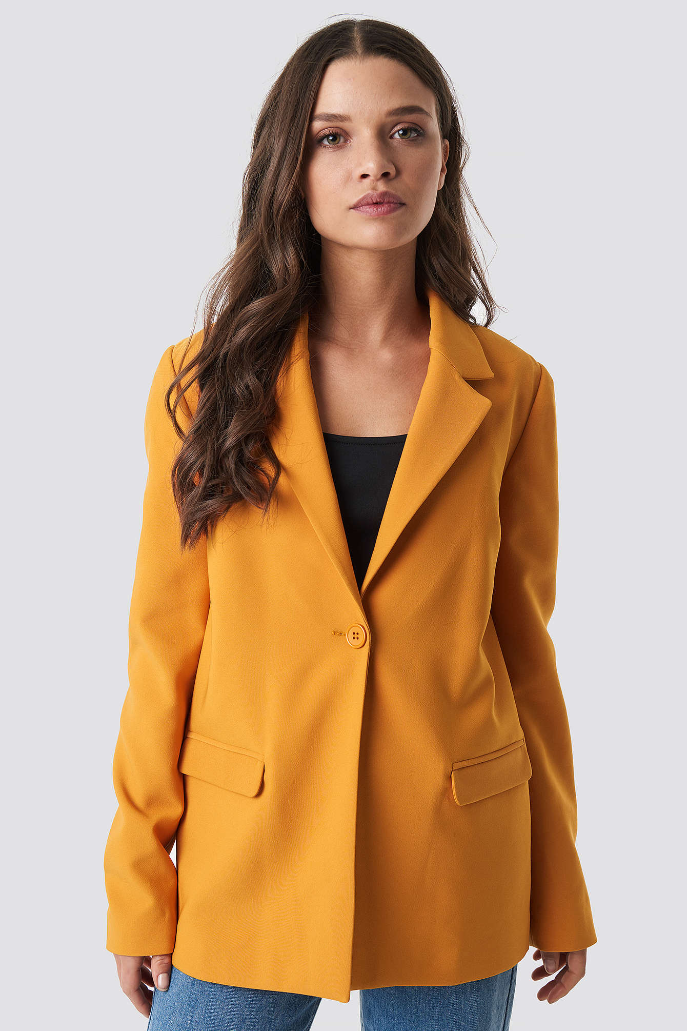astrid olsen x na-kd -  Single Button Blazer - Orange