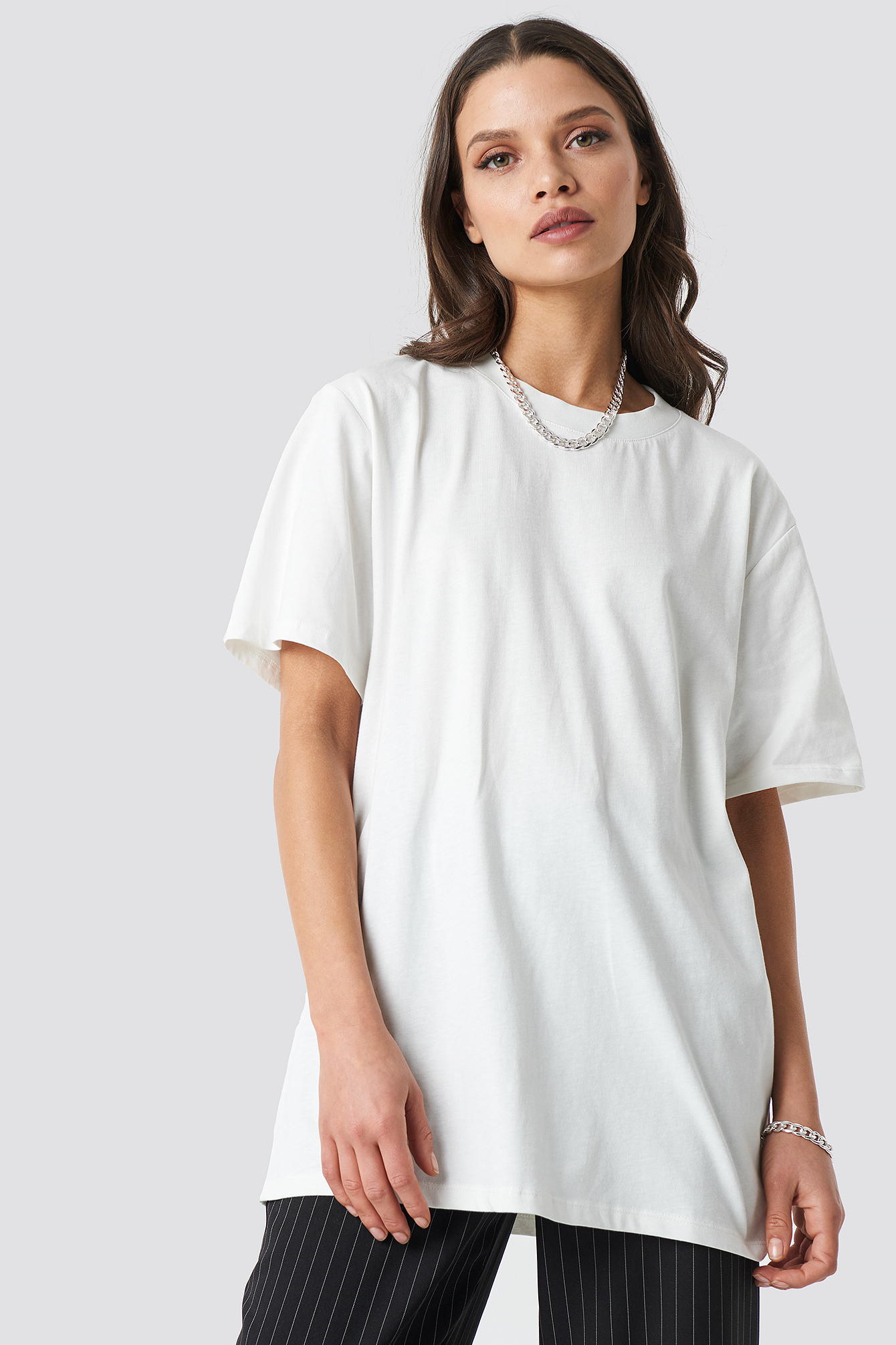 Ivory Solid Oversize Tee