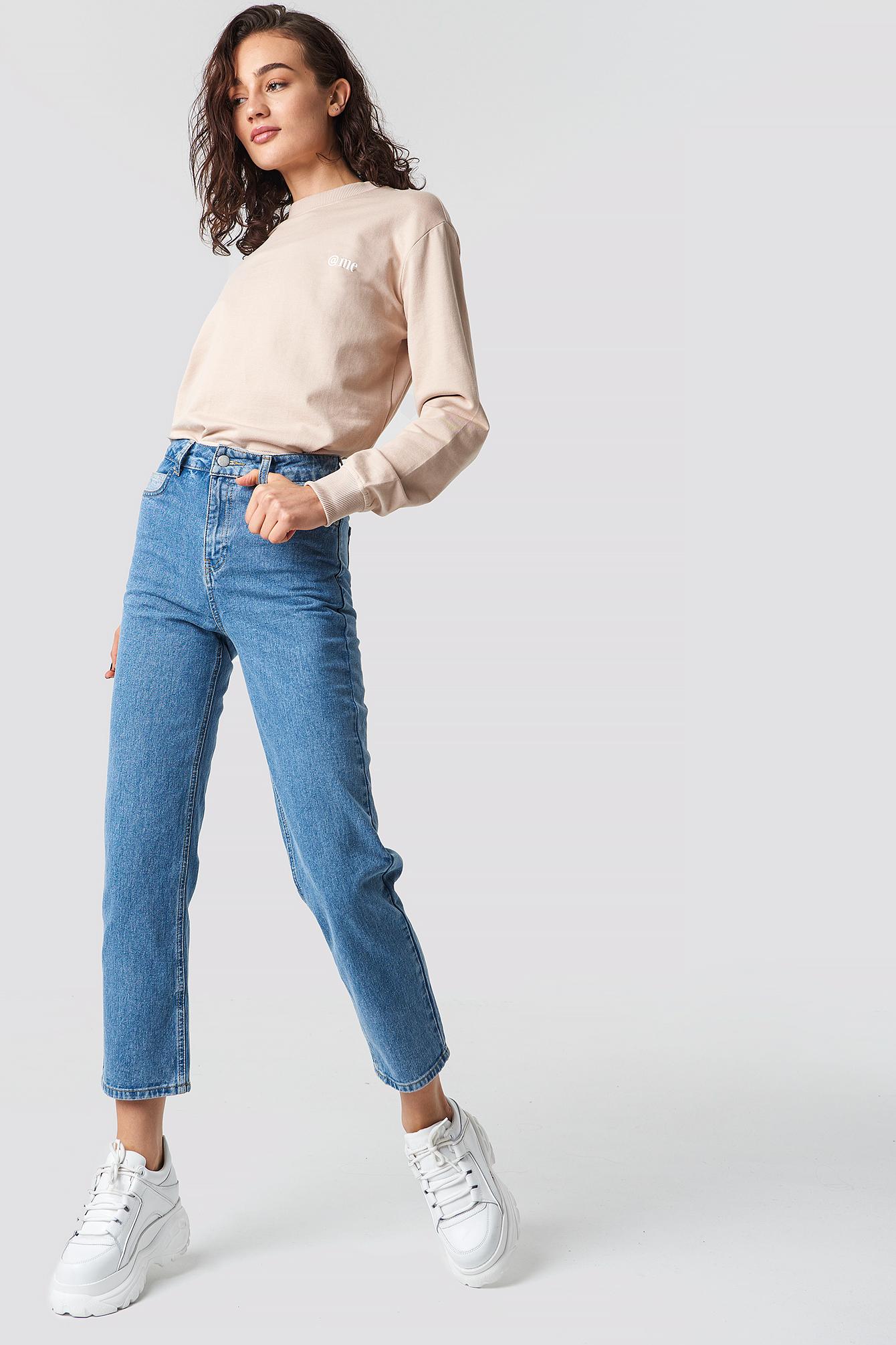 ASTRID OLSEN X NA-KD Straight Leg Jeans - Blue