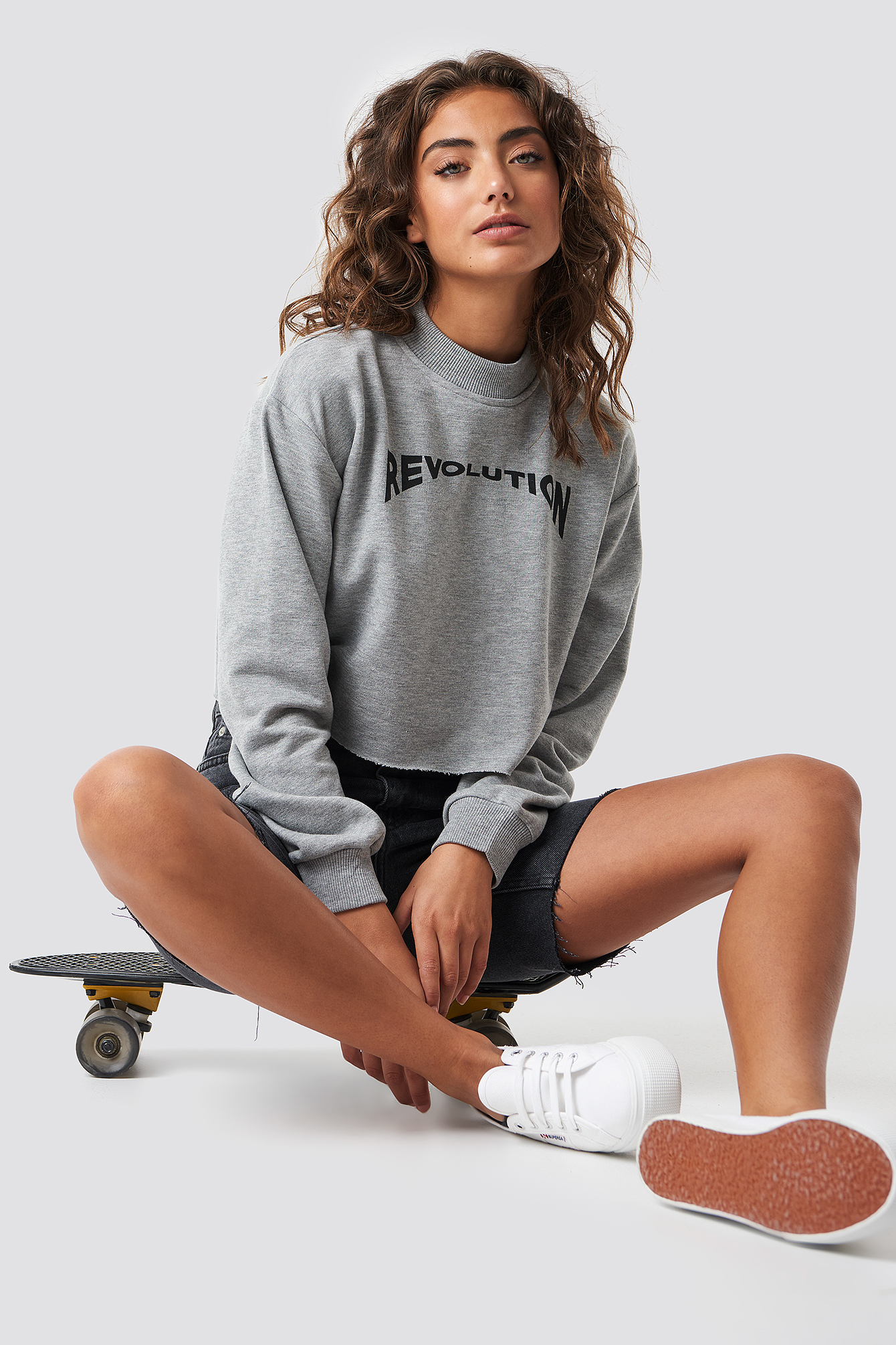 ASTRIDOLSENXNAKD Revolution Cropped Sweater - Grey