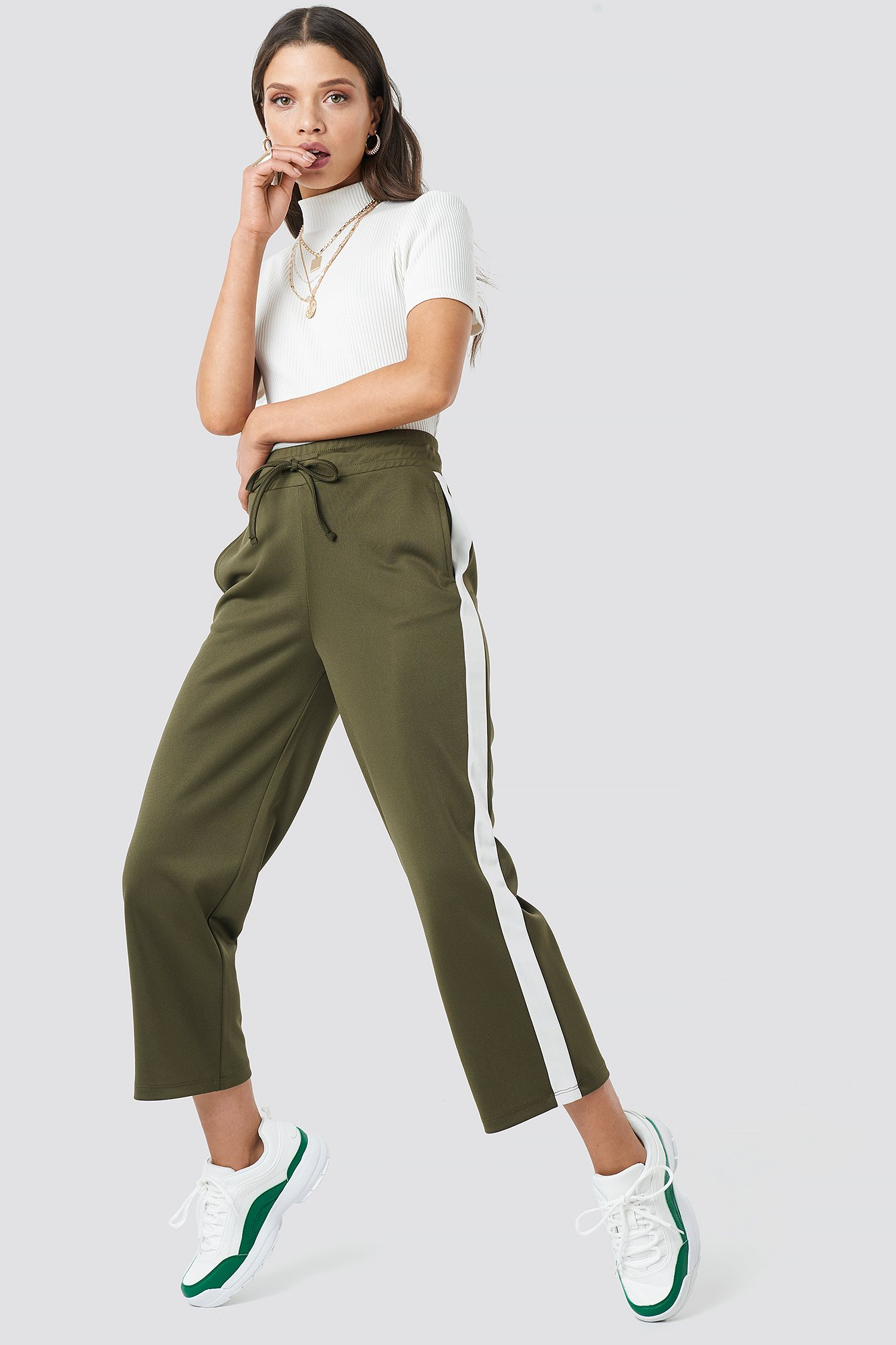 astrid olsen x na-kd -  Side Stripe Pants - Green