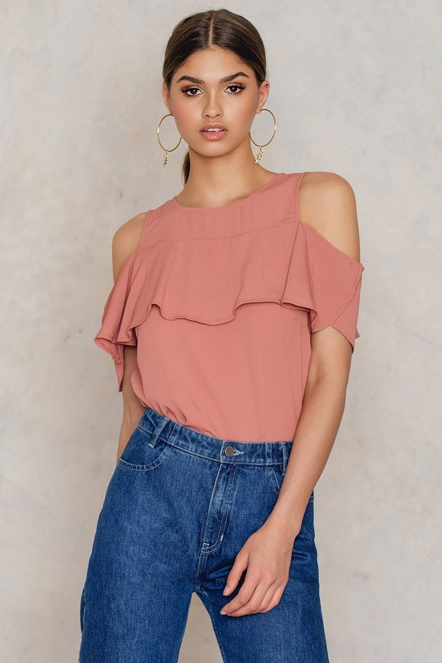 Sandra frill top Canyon Pink