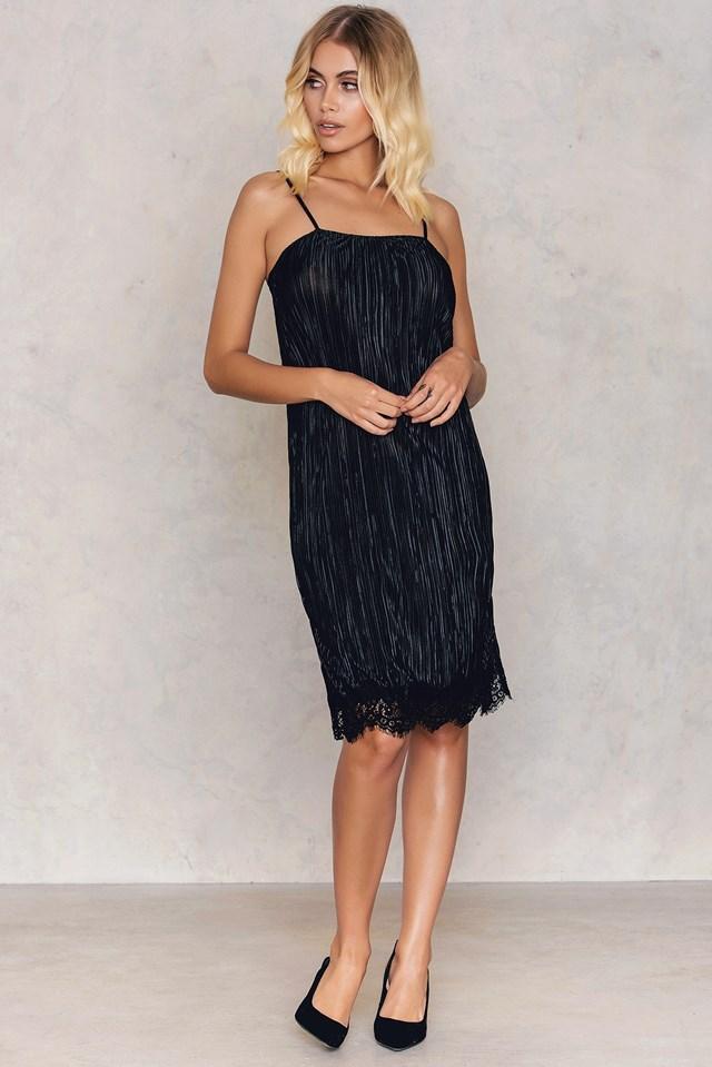 Harper Pleated Slip Dress Black