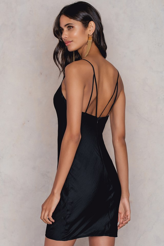 Strappy Slip Dress Black