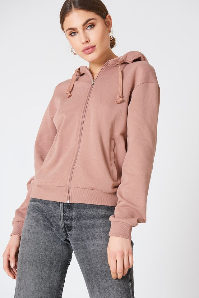 Basic Zipped Hoodie Dusty Dark Pink