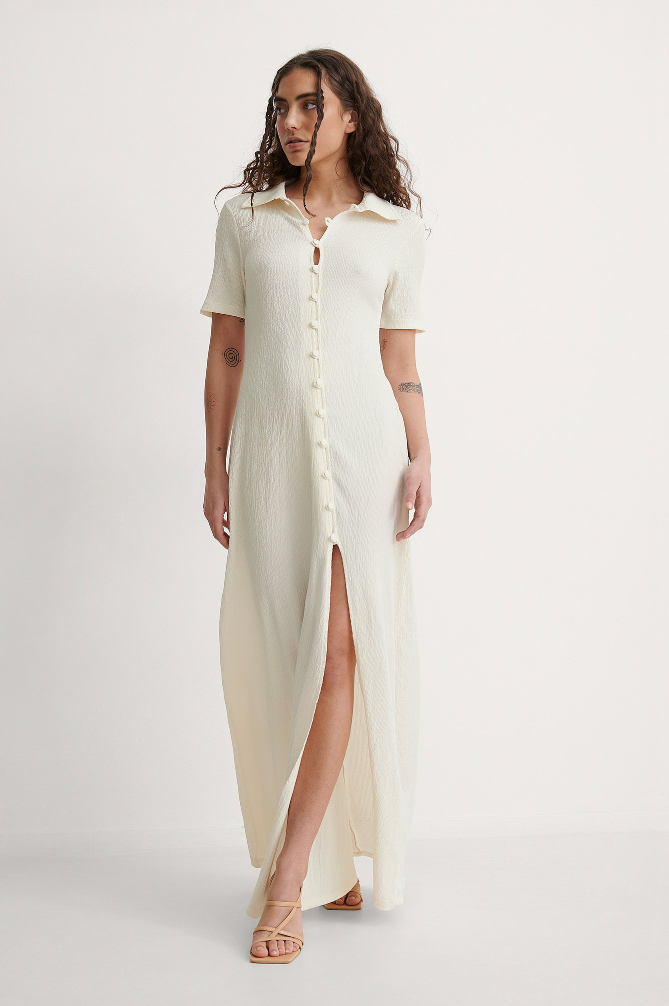 Off White Crepe Jersey Button Dress