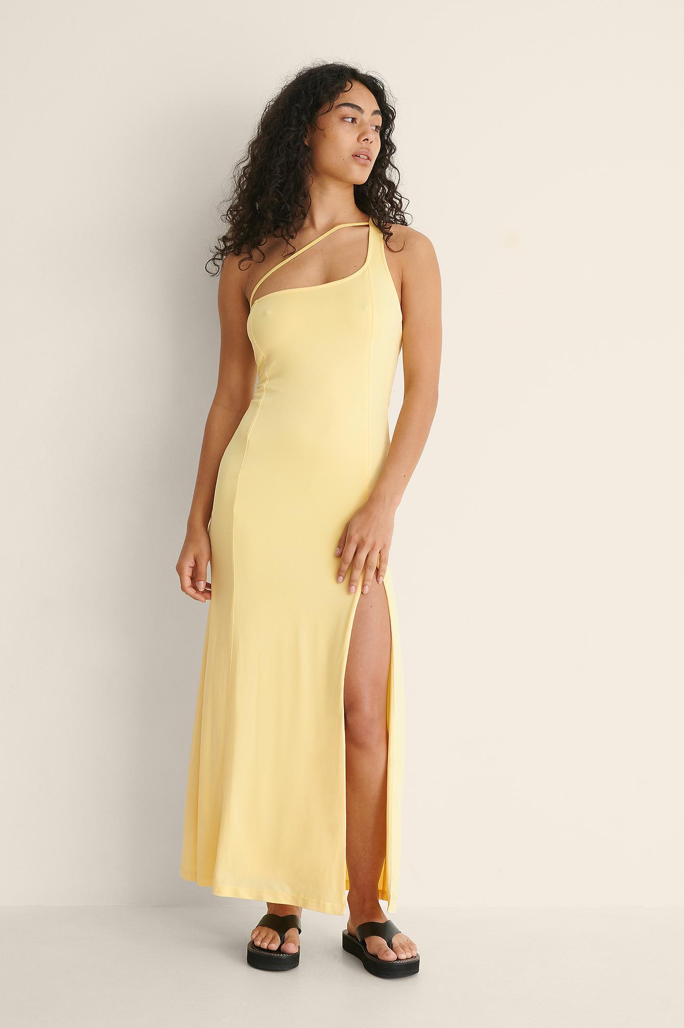 bella michlo x na-kd -  Einseitig Schulterfreies Jerseykleid - Yellow